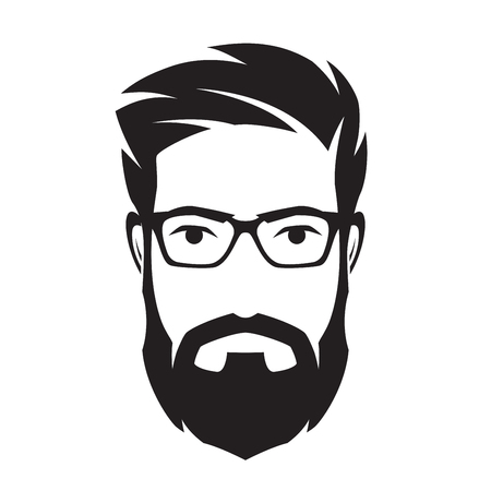 Bearded mans face, hipster character. Fashion silhouette, avata