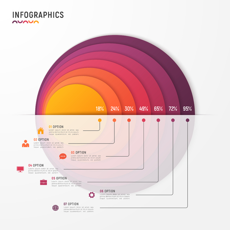 Vector circle chart infographic template for presentations, adve Illustration