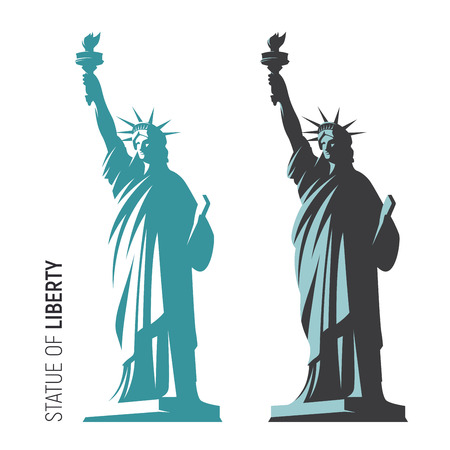Vector illustration of the Statue of Liberty in New York City. S