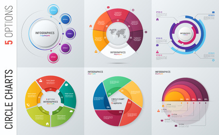 Collection of vector circle chart infographic templates for press