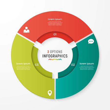 ベクトル円グラフのインフォ グラフィックは、プレゼンテーション、広告、レイアウト、年次報告書のテンプレートです。3 オプション、手順、部