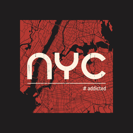 ニューヨークには、t シャツ、アパレルのベクトル デザイン、印刷、活版印刷、ポスター、エンブレムがはまっています。
