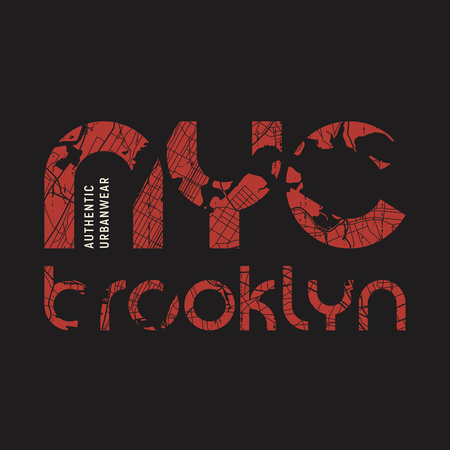 New York Brooklyn t-shirt and apparel vector design, print, typography, poster, emblem.