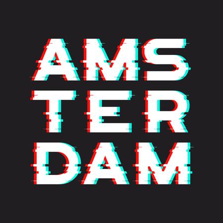 암스테르담 티셔츠와 소음, 고장, 왜곡이있는 의류 디자인