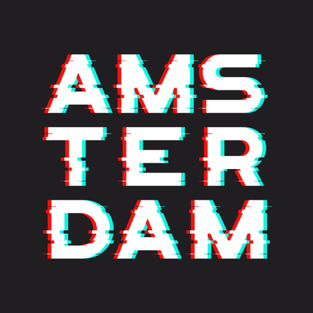 Amsterdam t-shirt and apparel design with noise, glitch, distort