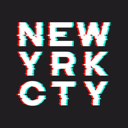 소음, 고장, 왜곡이있는 뉴욕 티셔츠 및 의류 디자인 일러스트