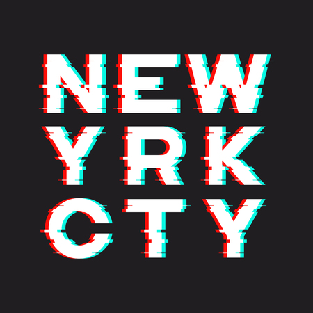 New York t-shirt and apparel design with noise, glitch, distorti 向量圖像