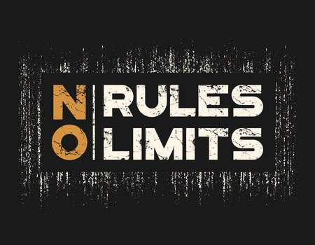 No rules no limits t-shirt and apparel design with grunge effect