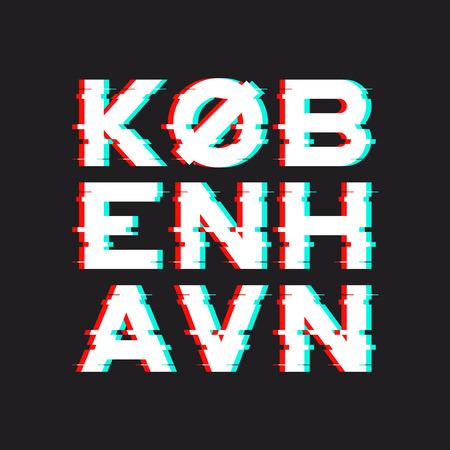 코펜하겐 티셔츠와 소음, 고장, 디스트릭트가있는 의류 디자인 일러스트
