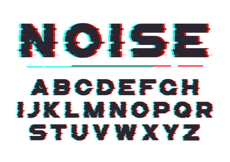 Decorative bold font with digital noise, distortion, glitch effe