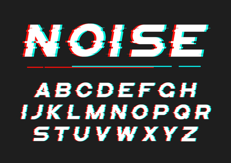 디지털 노이즈, 왜곡, 글리치 효과가있는 장식적인 굵은 글꼴 일러스트