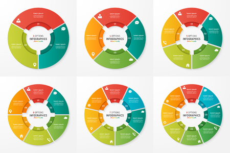 Vector circle chart infographic templates for presentations, adv Çizim