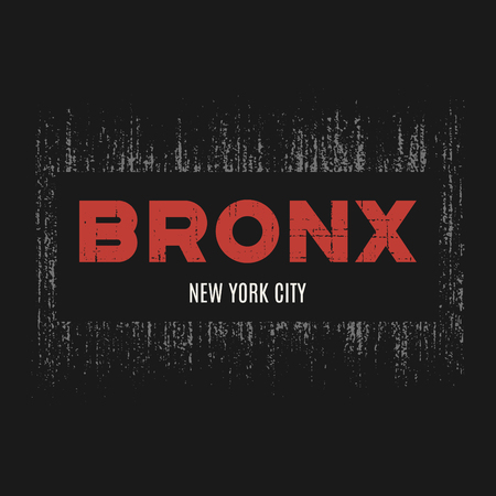 Bronx t-shirt and apparel design with grunge effect and textured