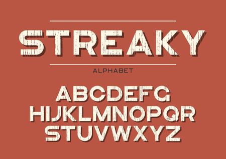 Decorative textured bold font with grunge effect. Vector alphabet