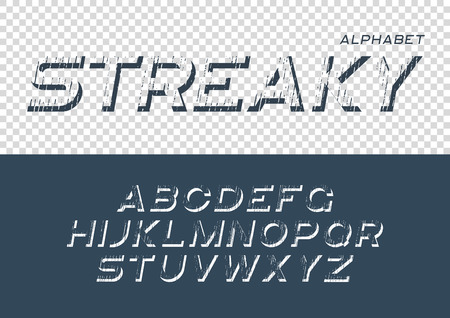 Decorative textured font with grunge effect. Vector alphabet let