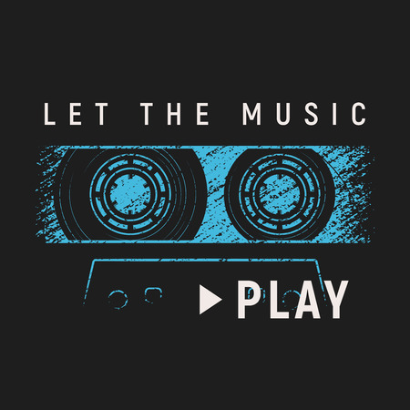 Let the music play t-shirt and apparel design with grunge effect