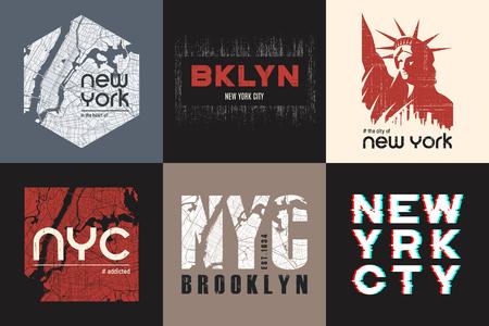 Set of six New York t-shirt and apparel designs. Vector print