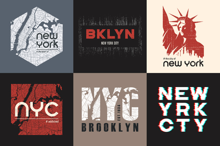 Set of six New York t-shirt and apparel designs. Vector print