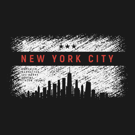 New York City t-shirt and apparel grunge style design with city