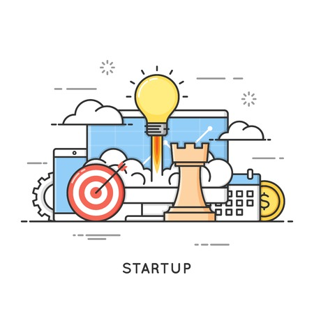 시작, 비즈니스 프로젝트 시작, 새로운 아이디어 아이콘. 플랫 라인 아트 스타일
