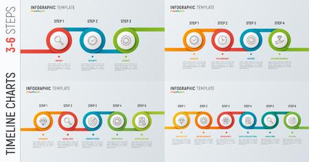 데이터 시각적 인 벡터 타임 라인 차트 인포 그래픽 디자인 세트 일러스트