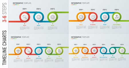 Set of vector timeline chart infographic designs for data visual