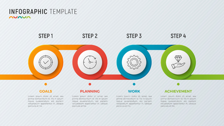 A Vector timeline chart info graphic design for data visualization. Illustration