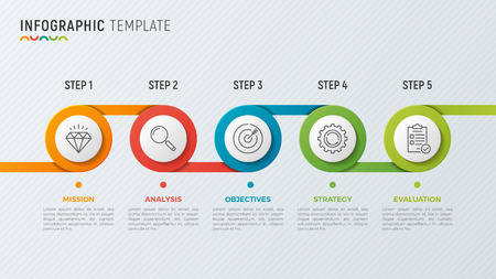 A Vector timeline chart infographic design for data visualization. Illustration