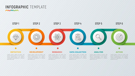 A Vector timeline chart info graphic design for data visualization. Ilustrace