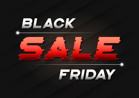 글리치 스타일의 텍스트와 함께 검은 금요일 판매 배너 디자인.