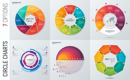 pres에 대한 벡터 원 차트 infographic 템플릿 컬렉션 일러스트
