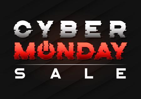 글리치 스타일의 텍스트로 사이버 월요일 판매 배너 디자인.