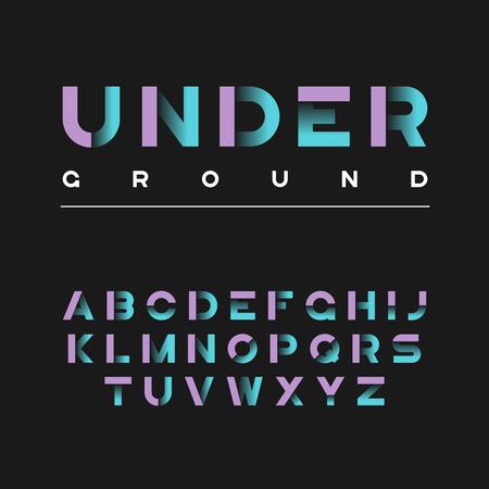 Underground decorative bold typeface. Vector alphabet, letters, Ilustração