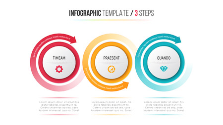 Three steps infographic process chart with circular arrows. Vectores