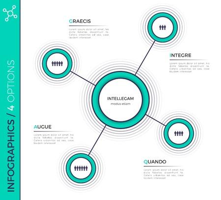네 가지 옵션 최소한의 창조적 인 infographic 차트, 구성표, 드 일러스트