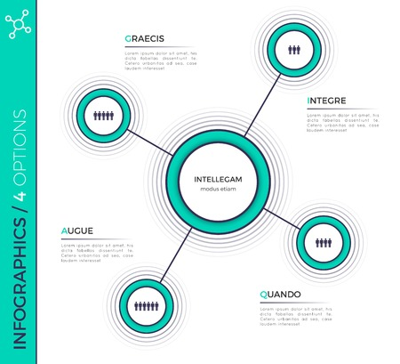 Four options minimalistic creative infographic chart, scheme, de Ilustrace