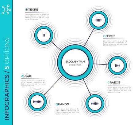 Five options minimalistic creative infographic chart, scheme, de Ilustrace