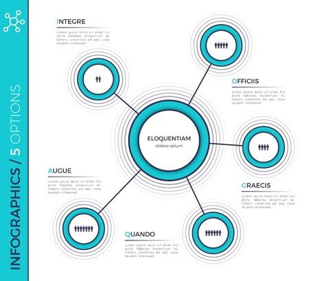 Five options minimalistic creative infographic chart, scheme, de 向量圖像