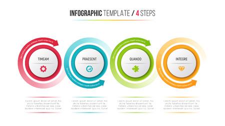 Tabla de proceso de infografía de cuatro pasos con flechas circulares.