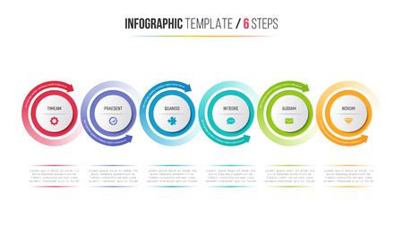 Diagramma di processo infographic di sei punti con le frecce circolari. Archivio Fotografico - 89490975
