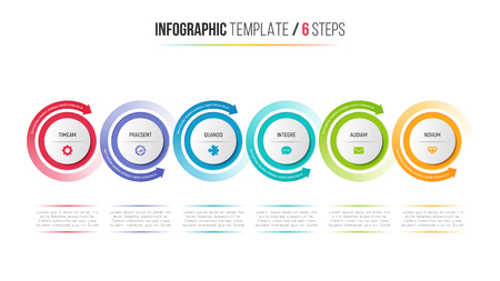 Six steps infographic process chart with circular arrows. Иллюстрация