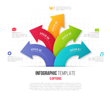 Infographics with 5 option branching circular arrows. Vector tem