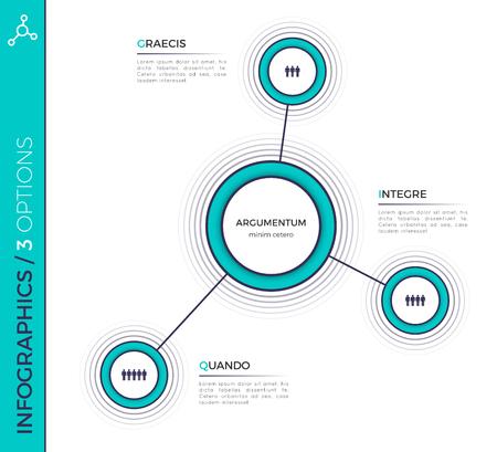 세 가지 옵션 최소의 창조적 인 infographic 차트, 계획, D 조
