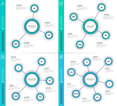 Minimalistic creative 3-6 infographic charts, schemes, designs. Çizim