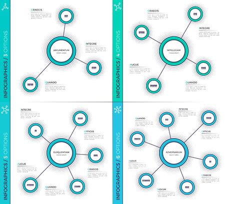 Minimalistic creative 3-6 infographic charts, schemes, designs. Illustration