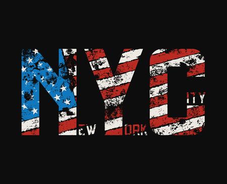 グランジ効果とニューヨーク市の t シャツ、アパレル デザイン。