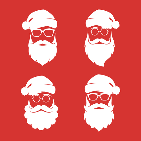 Collection of four hipster style Santa Claus silhouettes.