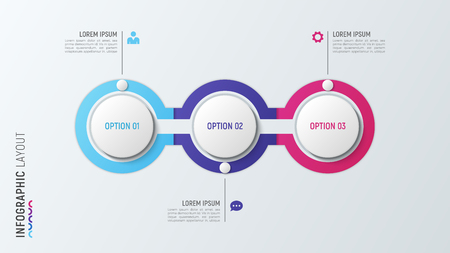Three steps infographic process chart. 3 options vector template Çizim