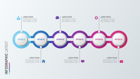 Six steps infographic process chart. 6 options vector template.
