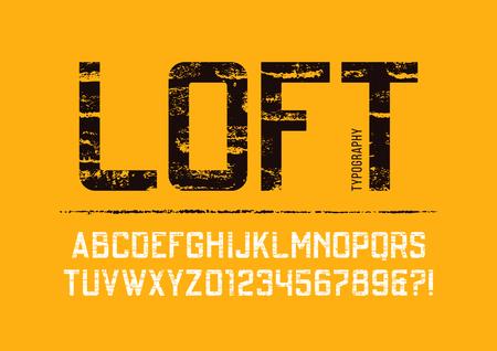 Loft condensed grunge textured sans serif typeface design.